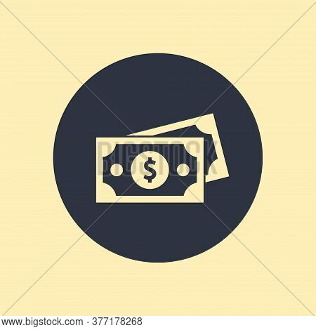 Dollar Banknote With Coins Flat Icon On Round Background