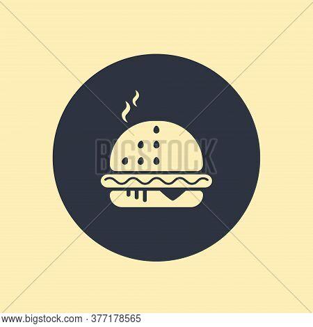 Flat Design Hamburger Web Icon. Vector Illustration On Round Background