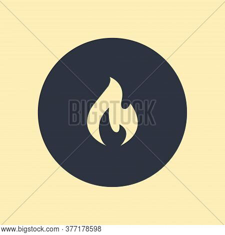 Fire Icon. Vector Symbol On Round Background