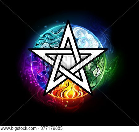Artistically Drawn, Luminous Pentagram With Five Magical Elements, Water, Earth, Fire, Astral, Air O
