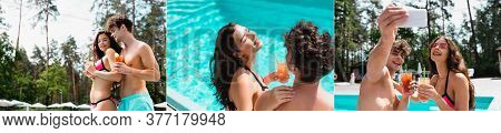 Collage Of Man And Woman In Swimwear Holding Cocktails And Taking Selfie Near Swimming Pool