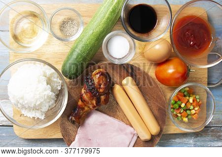 Ingredient For Cooked Fried Rice /cooking Fried Rice Concept
