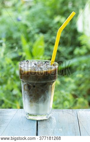 Thai Style Ice Coffee Served In The Garden