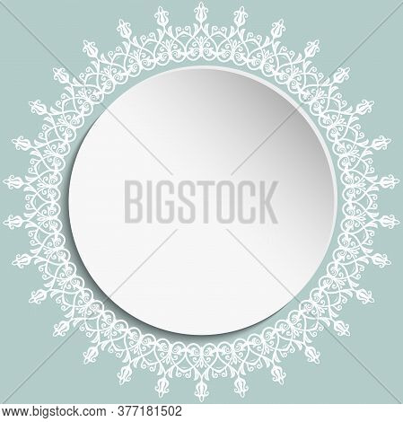 Round Vector Frame With Floral Elements And Arabesques. Round Pattern With White Arabesques. Fine Gr