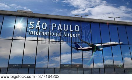 Jet Aircraft Landing At Sao Paulo, Brazil, São Paulo 3d Rendering Illustration. Arrival In The City