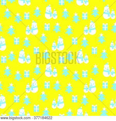 Yellow Christmas Snowman Seamless Pattern Background