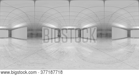 360 Degree Spherical Seamless Vr Panorama. Abstract Empty White Interior With Stands Installation, H