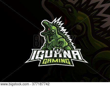 Iguana Mascot Sport Logo Design. Exotic Iguana Animal Mascot Vector Illustration Logo. Wild Iguana R