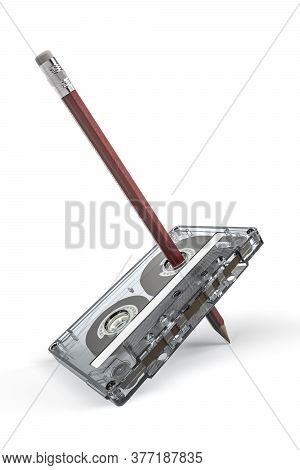 Cassette Tape With A Pencil Put Through A Reel - A Method Of Manual Tape Rewinding - 3d Render