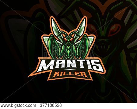 Mantis Mascot Sport Logo Design. Mantis Animal Mascot Vector Illustration Logo. Insect Gaming Mascot