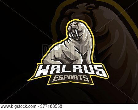 Walrus Mascot Sport Logo Design. Sea Animal Mascot Vector Illustration Logo. Wild Seals Mascot Desig