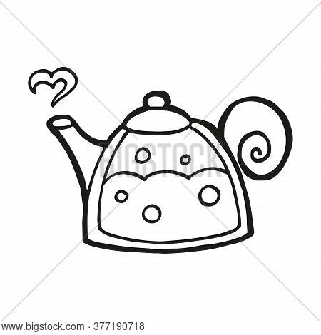 Cute Hand Drawn Teapot Or Kettle On White Background. Vector Design In Trendy Scandinavian Style. Fu
