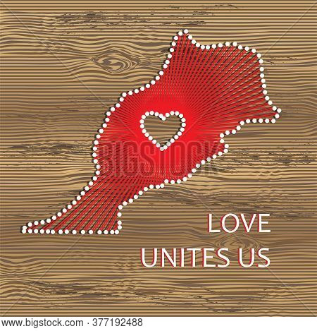 Morocco Art Vector Map With Heart. String Art, Yarn And Pins On Wooden Board Texture. Love Unites Us