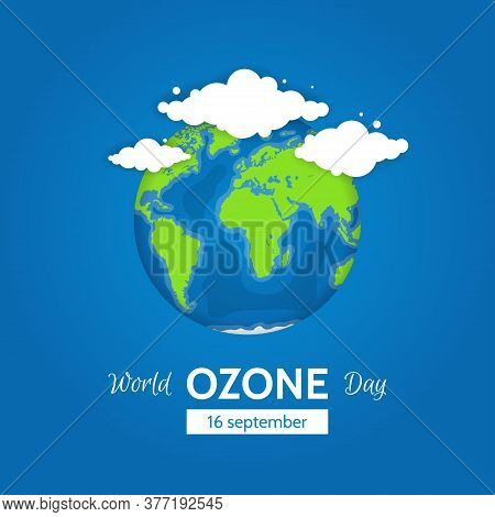 World Ozone Day Concept Design With Globe And Clouds