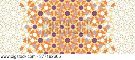 Arabesque Vector Seamless Border. Geometric Halftone Texture With Color Tile Disintegration. Arabesq