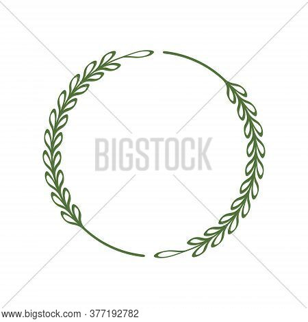 A Neat Wreath Of Two Branches. Round Frame Of Green Twigs With Leaves. Minimalist Border. Design Tem