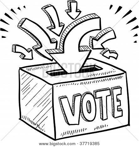 Ballot box voting election sketch