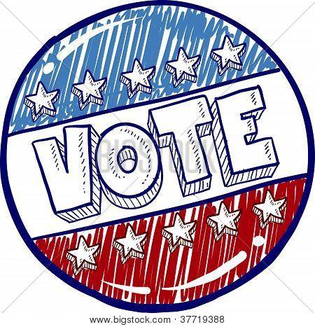 Vote campaign button sketch