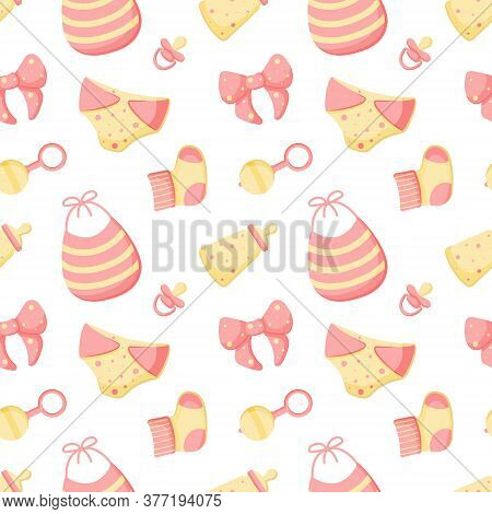 Vector Abstract Seamless Background With Diaper, Bib, Rattle, Dummy, Bottle, Sock, Bow. Colorful End
