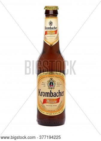Bucharest, Romania - August 4, 2015. Bottle Of Krombacher Weizen Wheat Beer. Krombacher Weizen Is Na