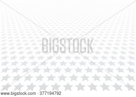 Stars pattern. Diminishing perspective view. White textured background.