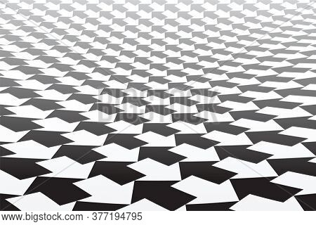 Black and white arrows pattern. Diminishing perspective. Abstract geometric background.