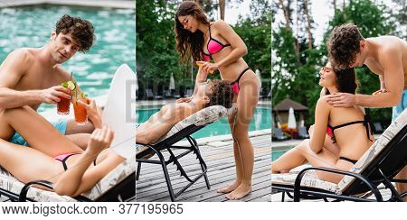 Collage Of Handsome Man And Woman Applying Sunscreen And Clinking Cocktails