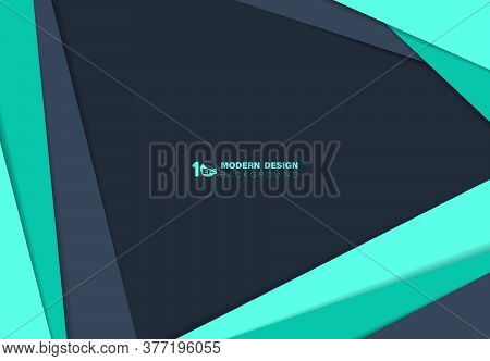Abstract Blue And Green Over Lap Paper Cut With Shadow Template Background. Decorate For Ad, Poster,