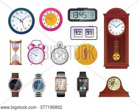 Clock And Watch Evolution Set. Sundial, Hourglass, Antique Wooden Pendulum Clock, Classic Analog Wri