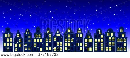 Evening Street With European Old Houses, Facades Of Historical Buildings In The Dutch Style And The