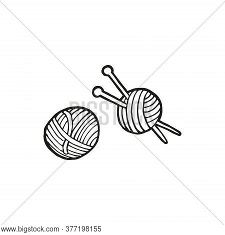 Hand Drawn Skeins Of Wool And Knitting Needles. In Doodle Style, Black Outline Isolated On A White B