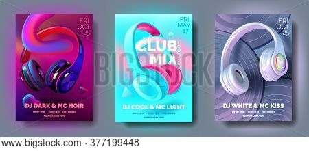 Set Of Club Posters With Headphones, Dance Party, Fluid Design Flyer, Invitation, Banner Template, D