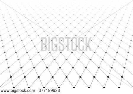 Diminishing perspective view. Lines and dots texture. Diamonds pattern.