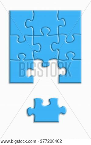 Blue Puzzle With Shadows On A White Background. Design Concept. Copy Of The Space.