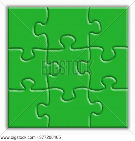 Green Puzzle With Shadows On A White Background. Design Concept. Copy Of The Space.
