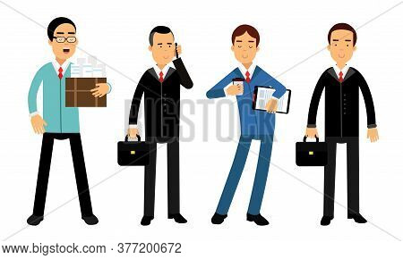 Businessmen Characters Wearing Formal Suits Carrying Folder And Suitcase Vector Illustration Set