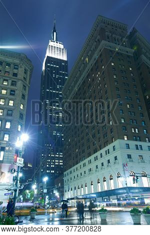Midtown, Manhattan, New York City, New York, United States - April 19, 2011: Street Scene Under The