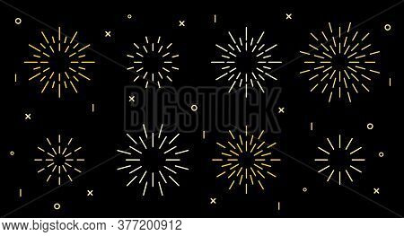Sparkle Star Shape Art Deco Fireworks Burst Pattern Collection. Gold Star Shaped Firecracker Pattern