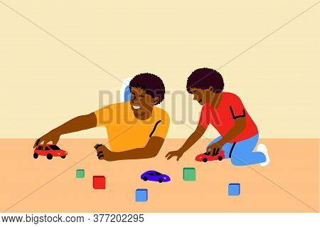 Game, Fatherhood, Childhood, Family, Recreation Concept. Young African American Man Dad Playing Cars