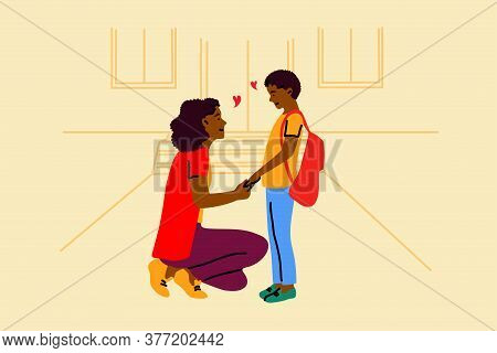 Education, Motherhood, Childhood, Care Concept. Young Smiling African American Woman Mother Cartoon