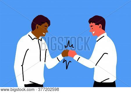 Friendship, Greeting, Congatulation, Success Concept. Young Happy Smiling African American Man Carto
