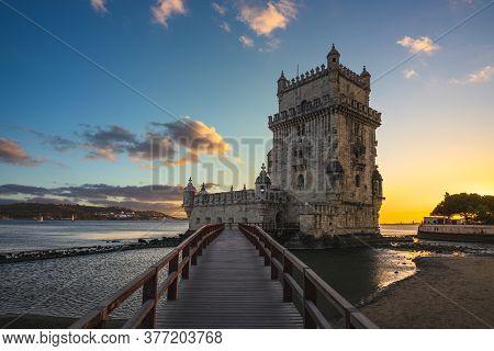 Belem Tower In Belem District Of Lisbon At Dusk