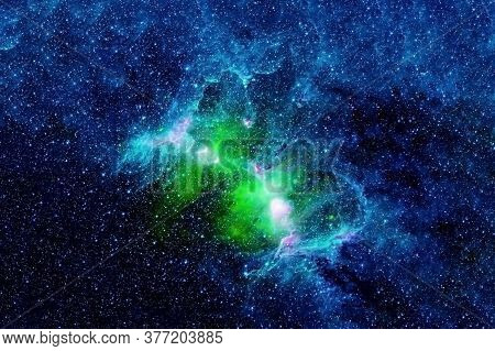 A Beautiful Green Galaxy In Deep Space. Elements Of This Image Were Furnished By Nasa.