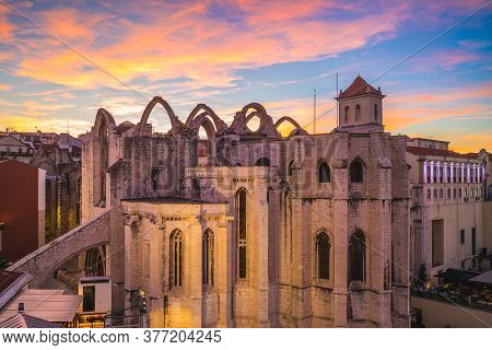 Night View Of Lisbon With Convento Do Carmo