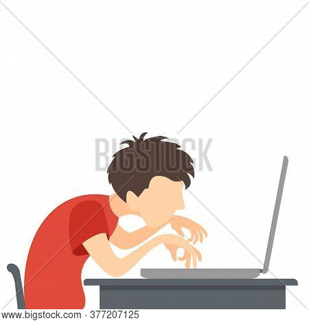 A Boy Plays Or Works At A Computer Or Laptop. A Gamer Plays Video Games. Kid Study Or Play A Compute