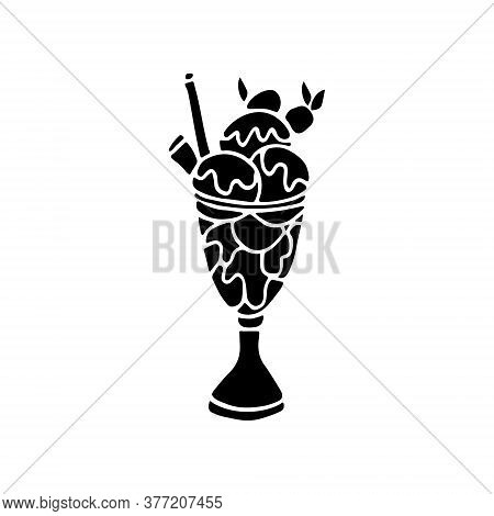 Vector Illustration Of Ice Cream In A Glass Cup Decorated With Berries, Syrup And Wafer Roll Isolate