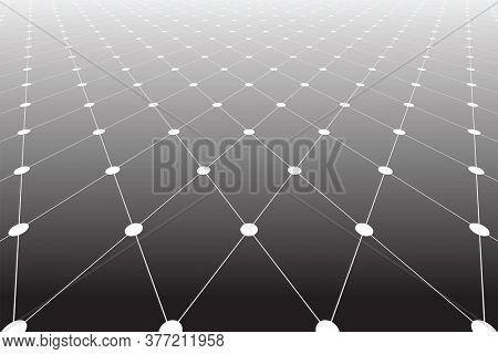 Diminishing perspective view of lines and dots texture in diamonds pattern.