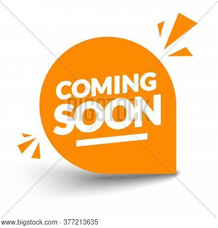 Vector Illustration Round Orange Coming Soon Label. Modern Web Banner.