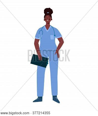 Young Professional Black Woman Doctor Isolated On White Background. Medical Specialist. Medical Staf