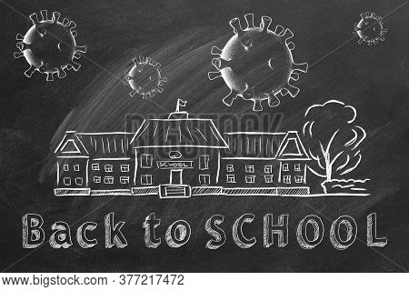 School Building, Coronavirus Cells And Lettering Back To School Are Drawn With Chalk On A Blackboard